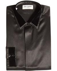 Saint Laurent - Hemd aus Seide mit Samt-Kragen - Lyst