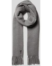 AMI Schal mit Label-Stitching - Grau