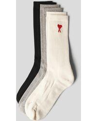 AMI Socken mit Brand-Detail - Natur