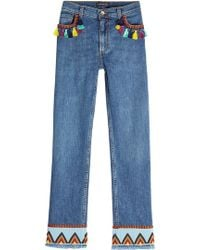 Etro - Embroidered Jeans With Tassels - Lyst
