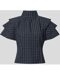 Custommade• Bluse mit Karomuster - Blau