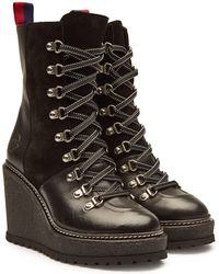 Moncler - Wedge-Boots Shanice aus Veloursleder und Leder - Lyst