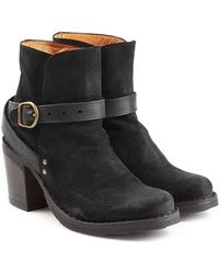 Fiorentini + Baker - Suede And Leather Buckle Strap Ankle Boots - Lyst