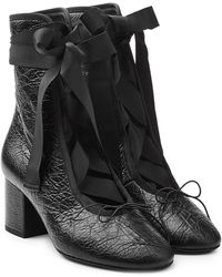 Valentino - Leather Ankle Boots With Grosgrain Ribbon - Lyst