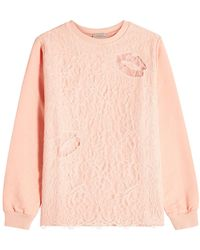 Nina Ricci - Cotton Sweatshirt With Lace Overlay - Lyst