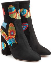 Valentino | Printed Suede Ankle Boots | Lyst