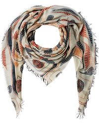 Figue Bengal Kantha Print Scarf With Silk - Multicolor