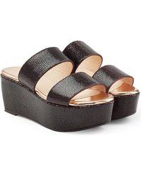 Robert Clergerie - Textured Leather Platform Sandals - Lyst