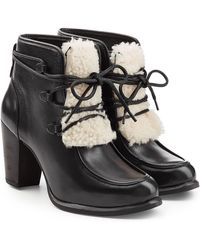 UGG - Leather Ankle Boots With Shearling - Lyst