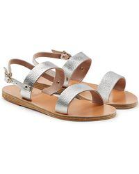 Ancient Greek Sandals | Clio Metallic Leather Sandals | Lyst