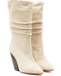 IRO Cristobal Suede Ankle Boots With Leather - White