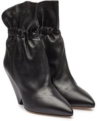 Isabel Marant - Lileas Ruched Leather Ankle Boots - Lyst
