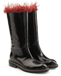 Marni | Patent Leather Knee Boots With Shearling Insole | Lyst