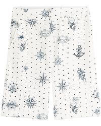 Alexander McQueen - Printed Cotton Shorts - Lyst