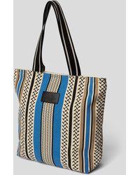 Lala Berlin Tote Bag mit Kufiya-Muster - Blau