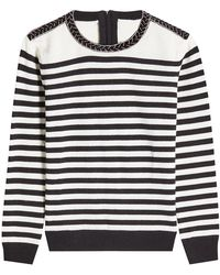The Kooples - Striped Wool Pullover With Embellishment - Lyst