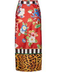 Stella Jean Printed Pencil Skirt - Red