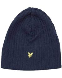 fdce7b064 Lyle And Scott Knitted Ribbed Beanie - Blue