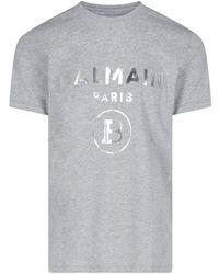 Balmain T-shirt Logo - Grigio