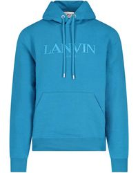 Lanvin Felpa Cappuccio Logo - Blu