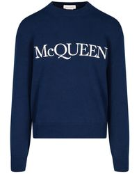 Alexander McQueen Maglione Ricamo Logo - Blu