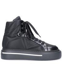 Prada High Quilted Sneakers - Black