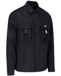 Prada Camicia Tasche Fibbie - Nero