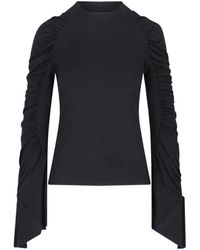 Redemption Draped Sleeves Top - Black