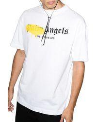 Palm Angels T-shirt con stampa e logo - Bianco