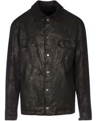 Salvatore Santoro Leather Shirt - Black