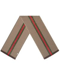 Gucci GG Jacquard Knit Scarf With Web And Fringe - Multicolor