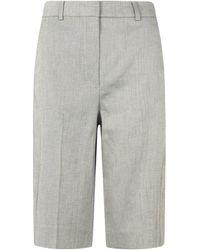 Sportmax Bermuda Shorts In Linen - Gray