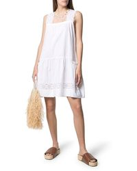 P.A.R.O.S.H. Broderie-anglaise Shift Dress - White