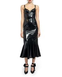 Saint Laurent Black Mermaid Bustier Dress In Latex