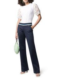 Miu Miu Stripe-detail Flared Pants - Blue