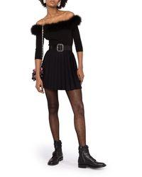 Saint Laurent Off-the-shoulder Feather-trim Top - Black
