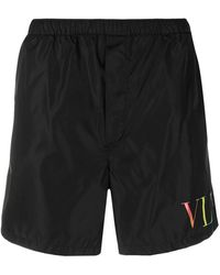 Valentino Vltn-print Swim Shorts - Black