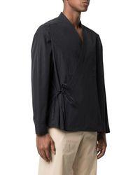 Ambush Wrap-front Kimono Shirt - Black