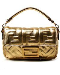 Fendi Borsa Baguette in pelle laminata con logo FF embossed - Metallizzato
