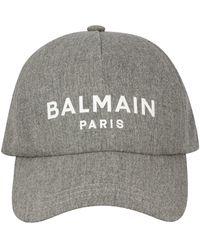 Balmain Cappello da baseball con stampa - Grigio