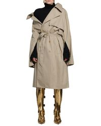 Balenciaga Trench Off Shoulder In Beige - Natural
