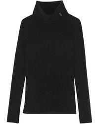 Saint Laurent Monogram Turtleneck Rib-knit Jumper - Black