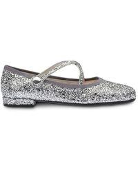 Miu Miu Glitter Round-toe Ballerina Shoes - Metallic