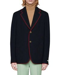 Gucci Patches Single-breasted Blazer - Blue