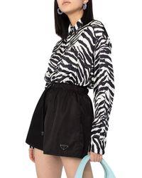 Prada High-waisted Logo-plaque Shorts - Black