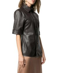 Bottega Veneta Leather Short Sleeve Shirt - Brown