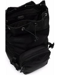 Prada Logo Plaque Buckled Backpack - Black