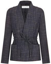 Dior GIACCA kimono CON cintura - Blu