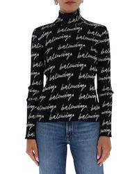 Balenciaga Allover Logo Turtleneck Jumper - Black