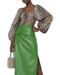 Ganni Leopard-print Balloon-sleeve Blouse - Green